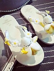 Women's Shoes Fur Summer Flip Flops Outdoor / Casual Low Heel Flower / Others Beige