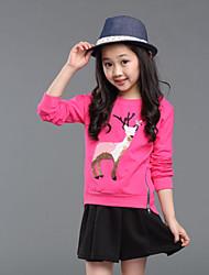 Girl's Cartoon Print Zip Embellishment Long Sleeve Blouse(Cotton)