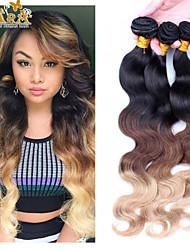 """3pcs / lot 10 """"-30"""" peruanska virgin hårfärg 1b / 4/27 vågigt människohår väver"""
