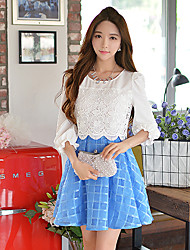 Pink Doll®Women's Casual Party Lace Puff Sleeve Two Piece A-line Dress