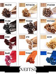 neitsi 20 pulgadas 1g / s 25g uñas fusión queratina u punta recta coloridas extensiones de cabello humano