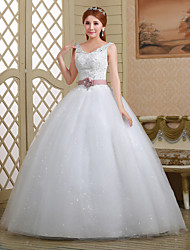 Ball Gown Wedding Dress - White Floor-length Straps Lace/Tulle