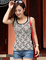 Women's Lace Black Vest , U Neck Sleeveless Lace