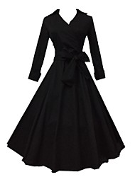 Damen Kleid - A-Linie Retro / Party Solide Midi Baumwolle Hemdkragen