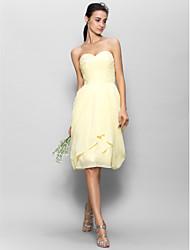 Lan ting Braut knielangen Chiffon Brautjungfer Kleid - a-line Liebling mit Applikationen / Side Draping