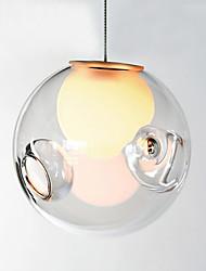 Pendant Light  Modern Minimalist  Transparent 1 Light  Metal and Glass