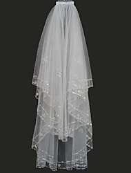 Bridal Wedding Veil White or ivory Two-tier Fingertip Veils Edge With Comb