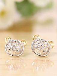 Tous jewelry silver earings 925 women korean tv drama fine jewelry rose gold bear 3a cz stud earrings brincos vintage