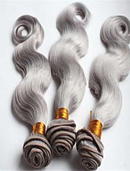 3Pcs/Lot Brazilian Virgin Hair Weft Weaves Body Wave Brazilian Human Hair Bundles Silver Grey Brazilian Body Wave