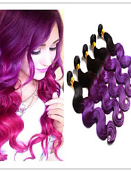 3pcs / lot haces de pelo virginales brasileñas ombre color de pelo bicolor 1b onda cuerpo púrpura extensiones de la armadura del pelo
