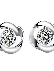 Earring Flower Stud Earrings Jewelry Women Daily / Casual / Sports Sterling Silver / Crystal 2pcs Silver
