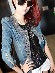 Women's Solid Drill Denim Top Short Coat, Casual