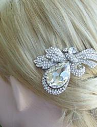 Bridal Hair Accessories Wedding Hair Comb Silver-tone Clear Rhinestone Crystal Flower Hair Comb Wedding Headpiece
