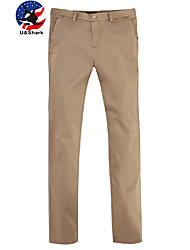 U-Shark Men's  Business Casual&Fashion Cotton  Straight Pants with  Small Check Khaki Color