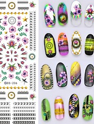 Big Page Water Transfer Printing Abstract  Flower Nail Stickers