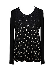 Women's Print / Patchwork Black / Green Blouse , Round Neck Long Sleeve