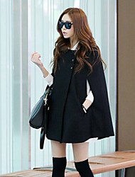 Women's Solid Color Black Coats & Jackets , Casual Round ½ Length Sleeve