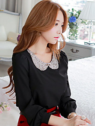DABUWAWA Women's Bodycon/Casual/Work  Sequin Pan Collar Long Sleeve Tops & Blouses (Elastic/Polyester)