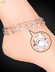 U7® Women's Ankle Chains 18K Real Gold/Platinum Plated Sandal Foot Jewelry Crystals Flowers Party Anklets Bracelets
