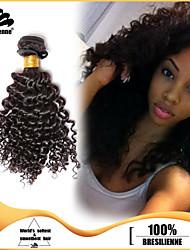 4pcs Brazilian Kinky Curl Hair Bundles Weaves Natural Black 100% Unprocessed Brazilian Human Hair Weft
