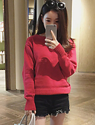 Women's Solid Red / Black / Yellow Pullover , Casual Long Sleeve