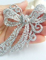 Wedding 4.13 Inch Silver-tone Clear Rhinestone Crystal Bowknot Brooch Bridal Bouquet Bridal Brooch Bridesmaid Jewelry