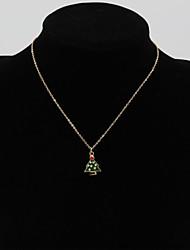Fashion Women Cute Enamel/Epoxy Christmas Tree Pendant Necklace