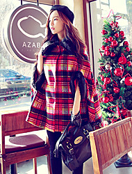 Pink Doll®Women's Casual Party Batwing Sleeve Checks Wool Cloak Coat