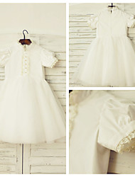 A-line Knee-length Flower Girl Dress - Cotton / Tulle Short Sleeve High Neck with