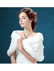 Wedding  Wraps / Fur Wraps Shrugs Sleeveless Faux Fur Ivory Wedding / Party/Evening Appliques Hidden Clasp