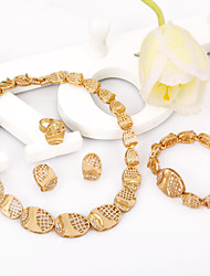 Lovely Design Hollow Net Wholesale Elegant Gold Jewelry Bridal Fashion Jewelry Set For Women Charms