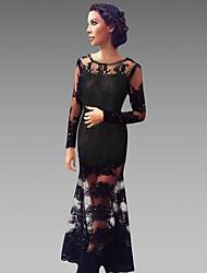 Women's Square Dresses , Mesh Party Long Sleeve SASA