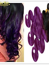 """3 pacotes de extensões de cabelo cabelo brasileiro do cabelo roxo ombre brasileiro virgem 1b do cabelo de dois tons / ombre roxo 8 """"-32"""""""