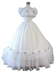 One-Piece/Dress Gothic Lolita Steampunk® Cosplay Lolita Dress White Solid Sleeveless Long Length Dress For WomenOrganza / Lace / Terylene