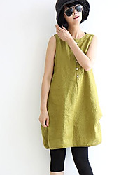 Women's Solid Black / Yellow Dress , Casual Round Neck Sleeveless