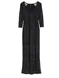Women's Lace Black Dress , Lace V Neck Long Sleeve