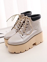Women's Shoes Platform Riding Boots Boots Casual Brown / Silver / Gray