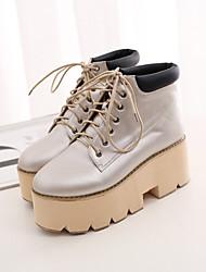 Коричневый / Серебристый / Серый - Женская обувь - На каждый день - Дерматин - На платформе - Сапоги для верховой езды - Ботинки