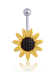 Sunflower Belly Button Ring Fabulous Belly Button Jewelry,Girlfriend Belly Ring, Flower Navel Ring