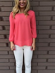 SEXY Women's Color Block Blue / Pink Tops & Blouses , Vintage / Sexy / Casual / Work Round Long Sleeve