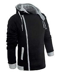 Men's Plus Size Long Sleeve Hoodie & Sweatshirt , Cotton/Spandex Pure