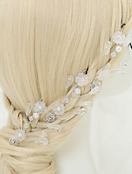 Women's Flower Girl's Rhinestone Crystal Alloy Imitation Pearl Headpiece-Wedding Special Occasion Hair Pin 3 Pieces