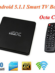 T052 android 5.1.1 caixa smart tv rk3368 núcleo octa 1gb + 8gb 2,4 g / 5g wi-fi 4k * 2k bt 4.0 set top box tv