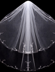 Wedding Veil Two-tier Fingertip Veils Cut Edge Tulle White / Ivory