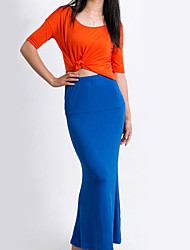 Women's Vintage Sexy Bodycon Beach Casual Maxi Skirts , Polyester Blue Red Black Brown Green