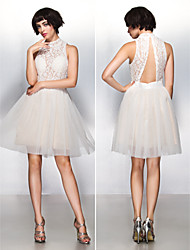 TS Couture® Cocktail Party Dress - Beautiful Back A-line High Neck Knee-length Lace / Tulle with Lace