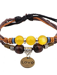QN Unisex Hand-woven Rope Wax Crystal Beads Bracelet