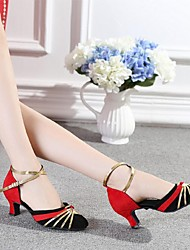 Non Customizable Women's Dance Shoes Latin Flocking Chunky Heel Red