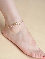 Women's Multilayer Tassels Pearl Chain Single Anklet