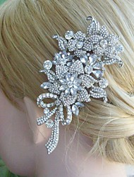 Bridal Hair Accessories Silver-tone Wedding Hair Comb Rhinestone Flower Hair Comb Bridal Hair Comb Wedding Headpiece